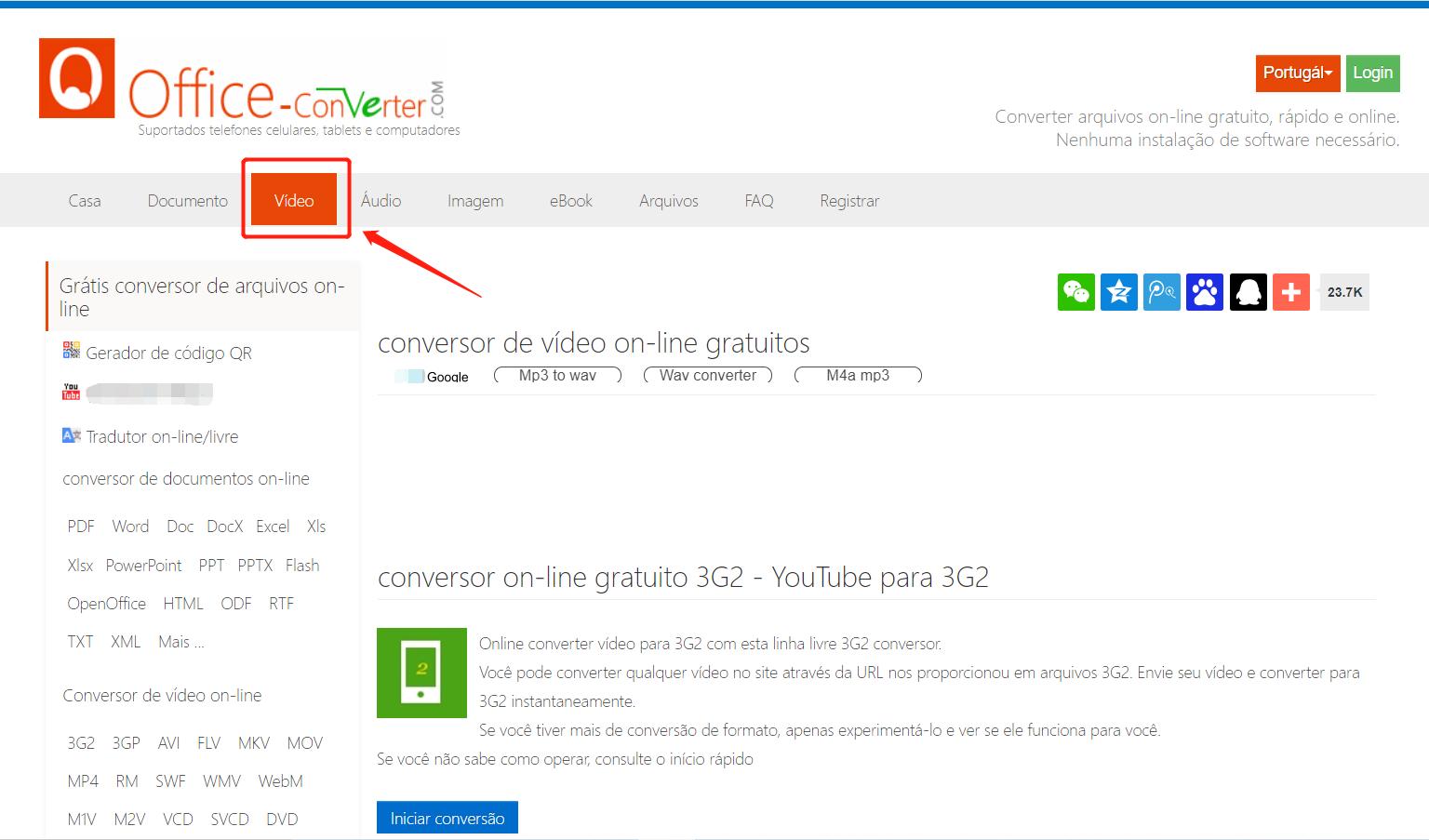 Converter vídeo MKV para um formato suportado pelo PS3 com site Office Converter