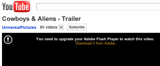Há problema de Adobe Flash Player