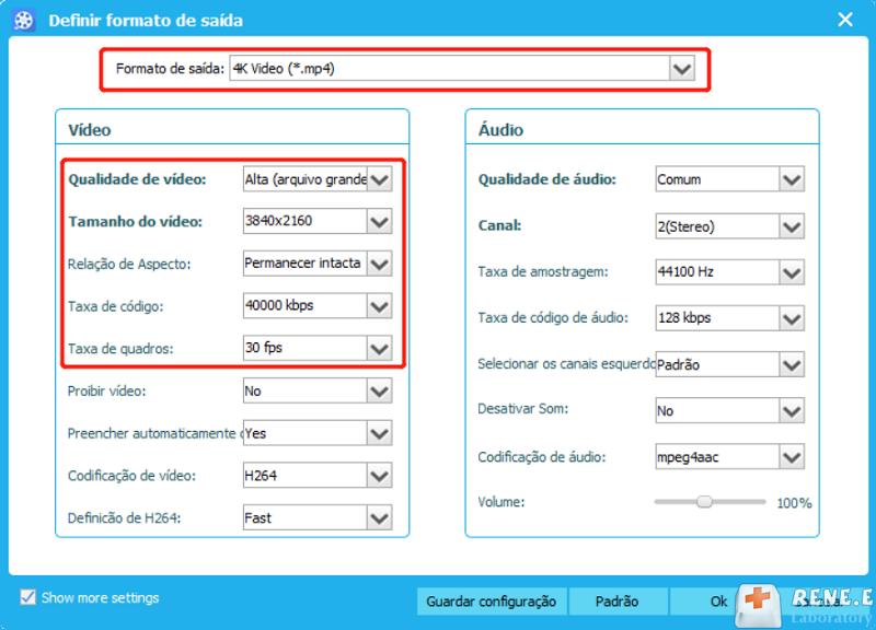 configurações relacionadas sobre reforço de vídeo