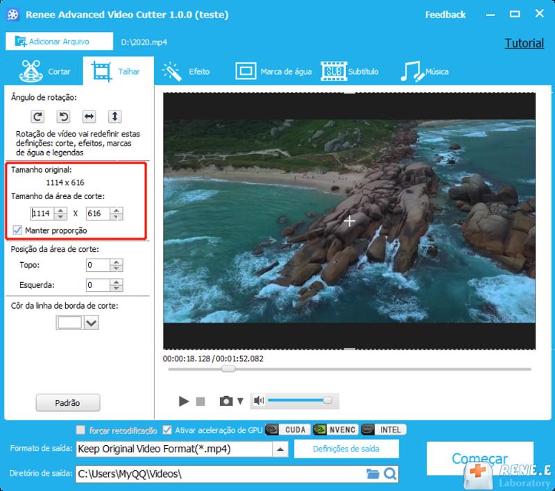 cortar vídeos e configurações relacionadas