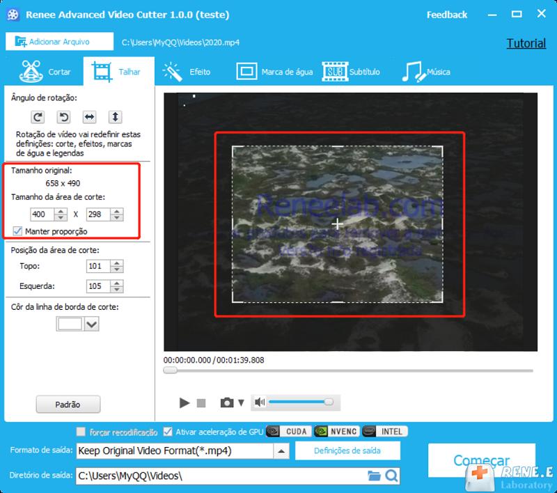 Como reduzir a duração de um vídeo com função Talhar do Renee Video Editor Pro