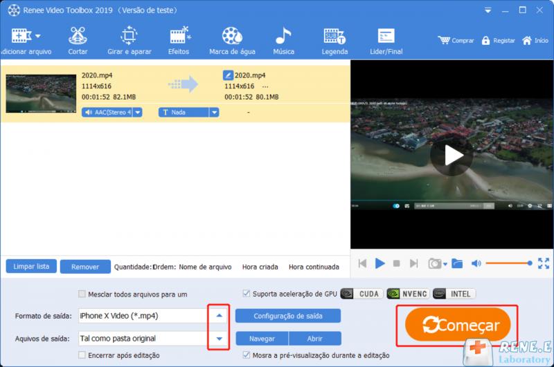 Clique em começar para converter para o formato de vídeo para iPhone