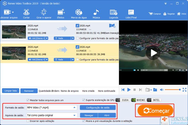 escolha o formato e o arquivo de saída para vídeos mesclados