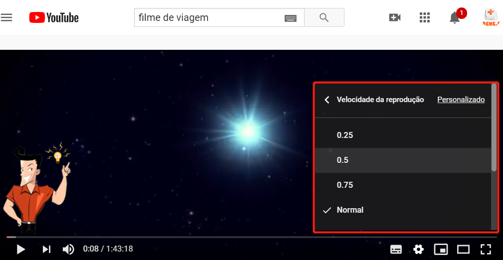 Como diminuir a velocidade de um vídeo de YouTube