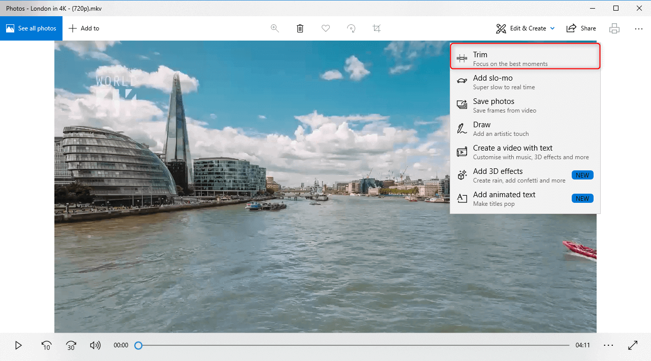 Como cortar vídeo com o programa Photos no windows 10