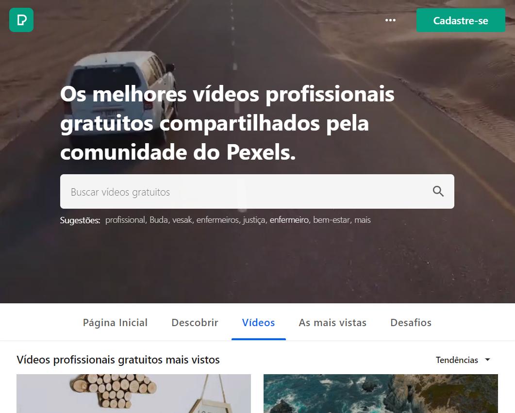 PexelsVideos é uma conhecida plataforma gratuita de material de vídeo e imagem