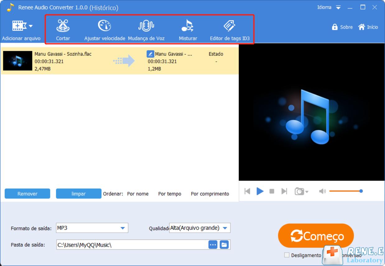 funções de Renee Audio Tools