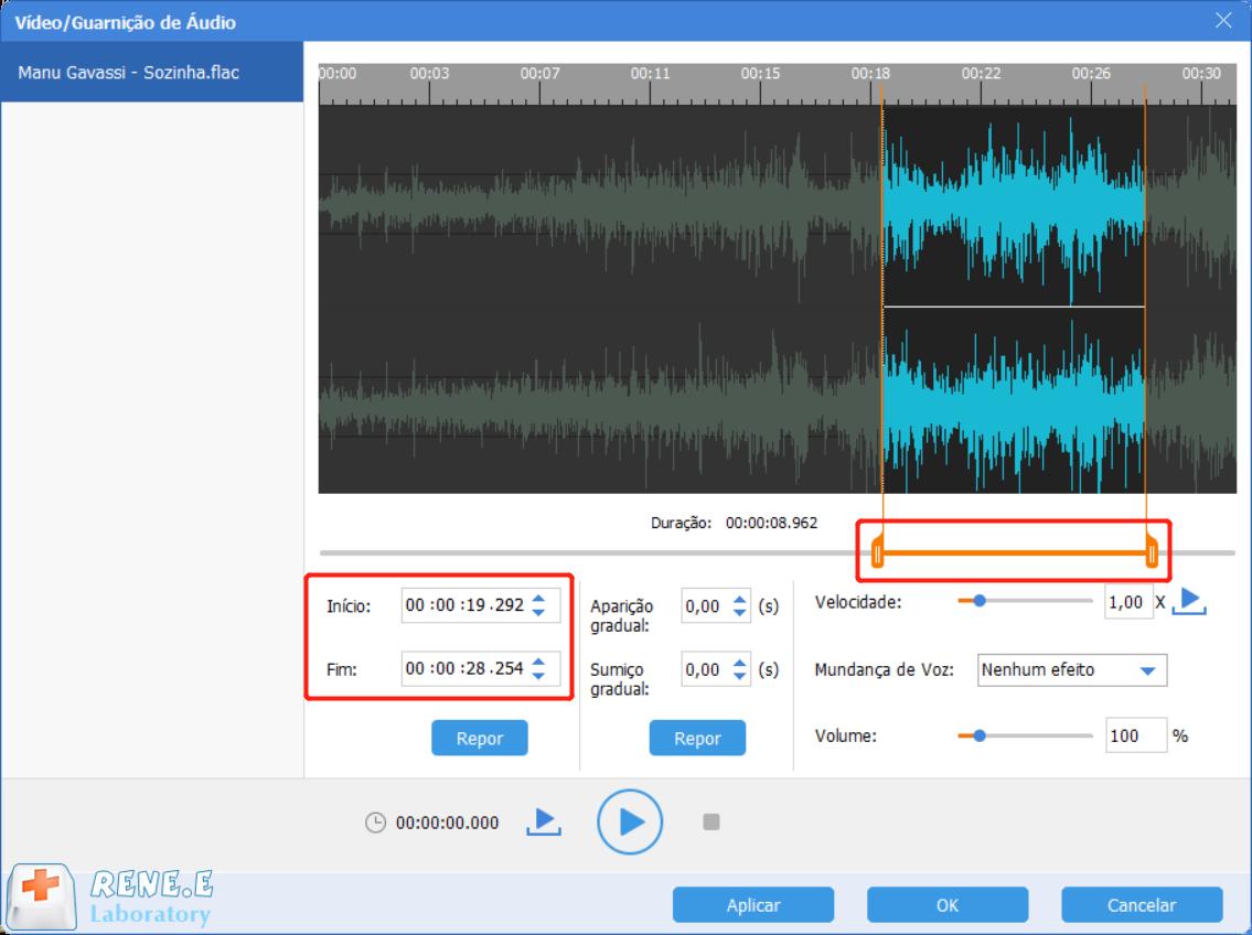 define a duração de áudio