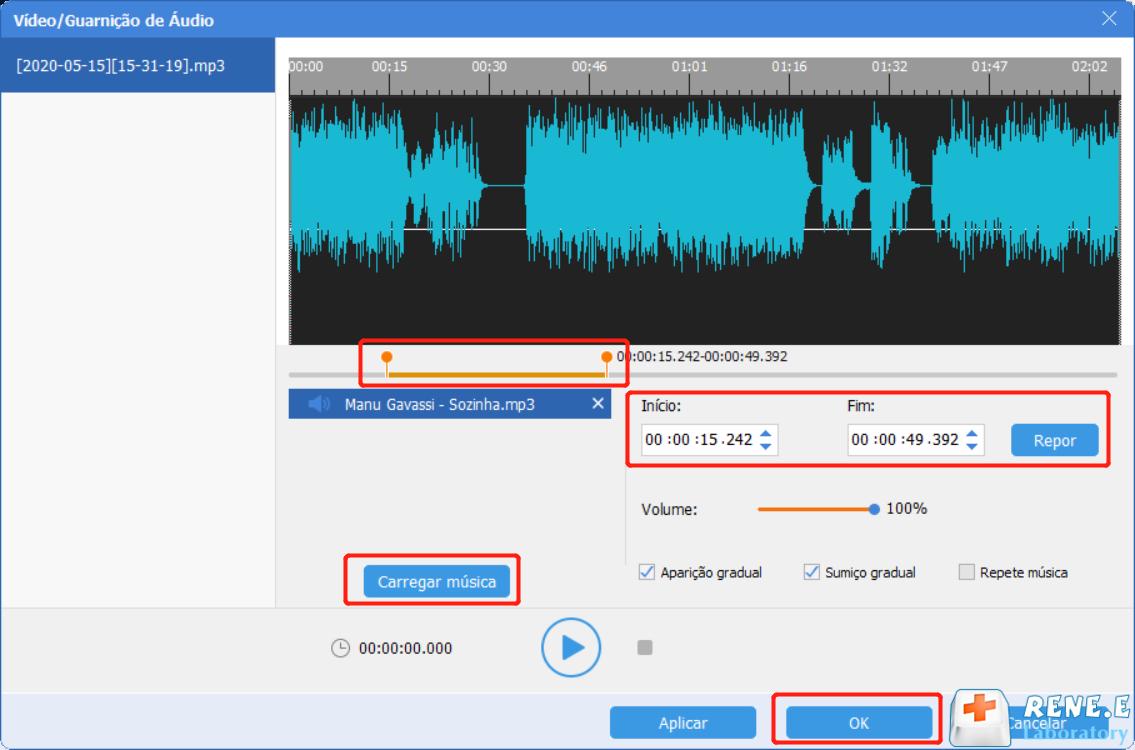 definir as configurações de áudio