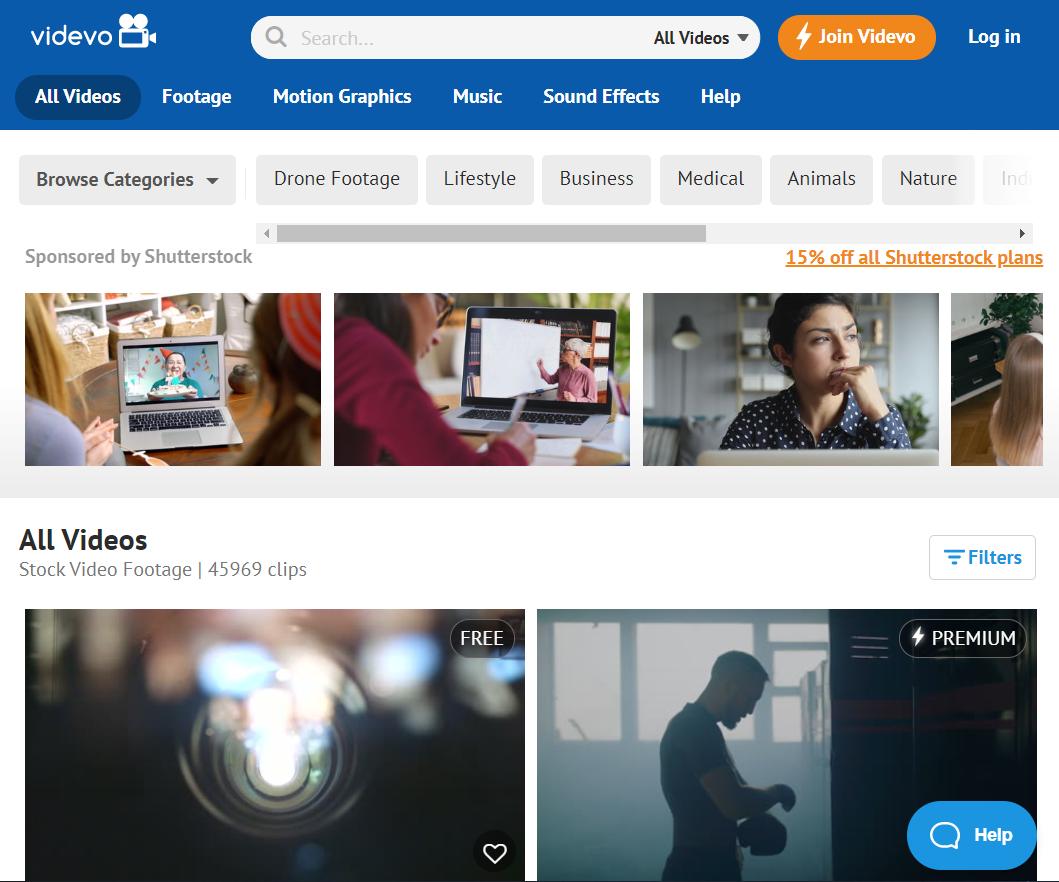 Videvo também é um site gratuito de recursos materiais de vídeo