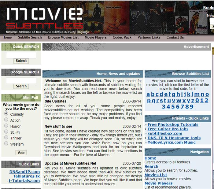 baixar legendas de filmes com Moviesubtitle