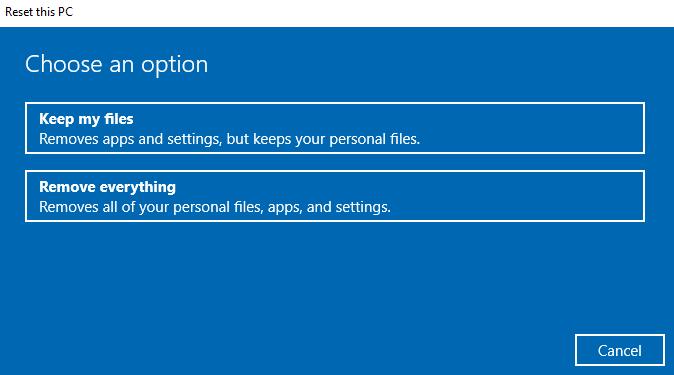 redefinir o computador e apagar dados