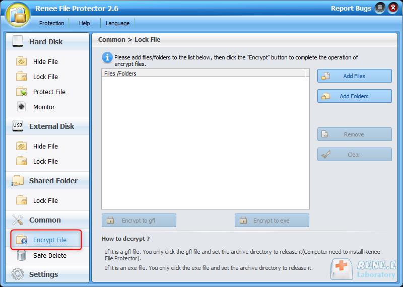 Função de criptografia do Renee File Protector