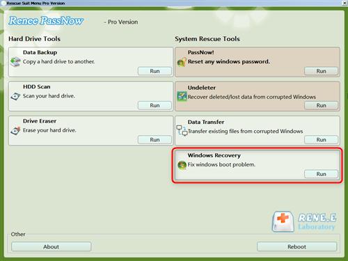 selecione a função de recuperação do Windows de Renee PassNow