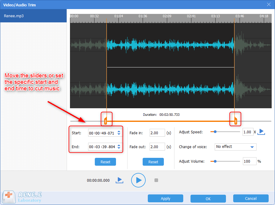 definir a duração do arquivo de áudio