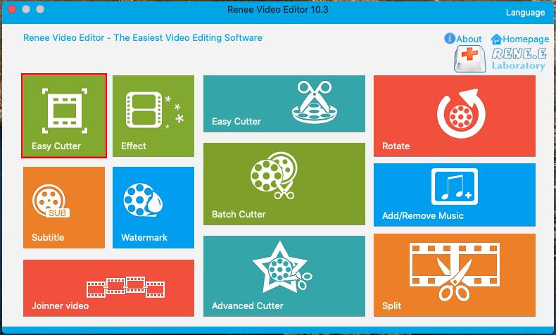Função Trimmer do Renee Video Editor