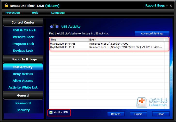 monitorar a atividade da porta USB