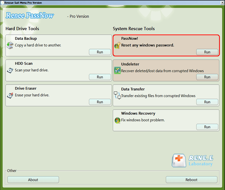 selecione a função PassNow de Renee PassNow