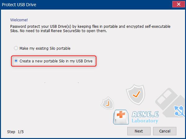 crie um novo armário na chave USB