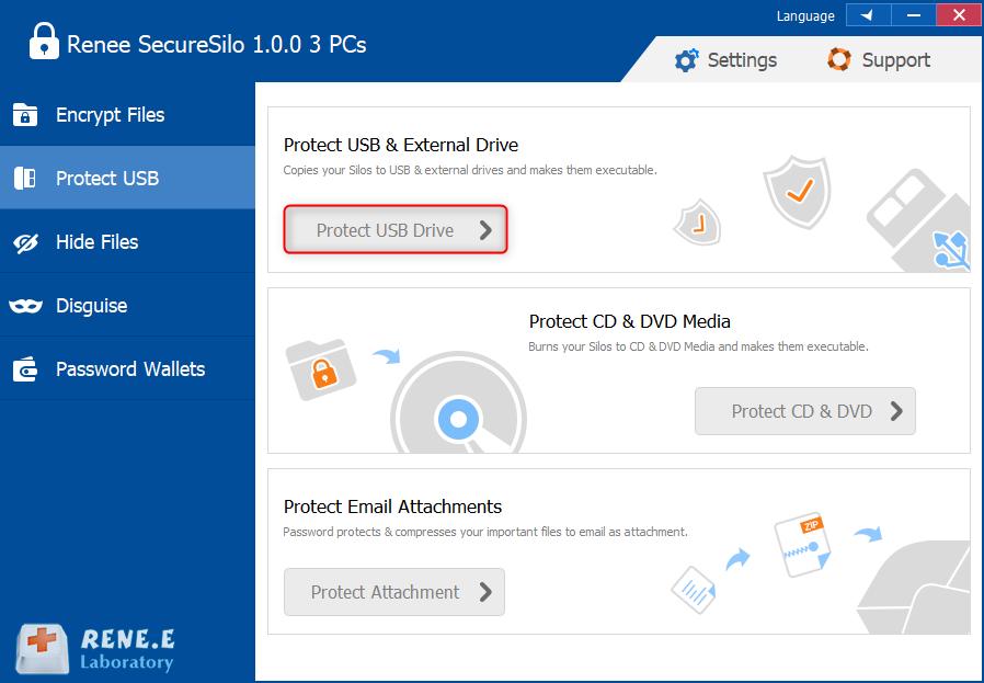 selecione a função Proteger USB