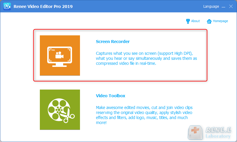 selecione a função de gravador de tela do Renee Video Editor Pro