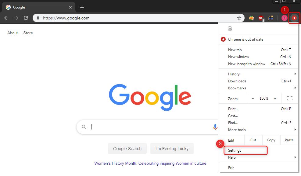 abrir as configurações do Chrome