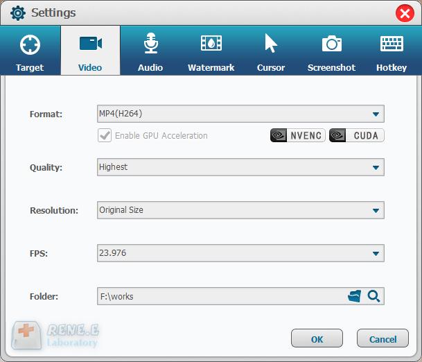 alterar as configurações de gravação