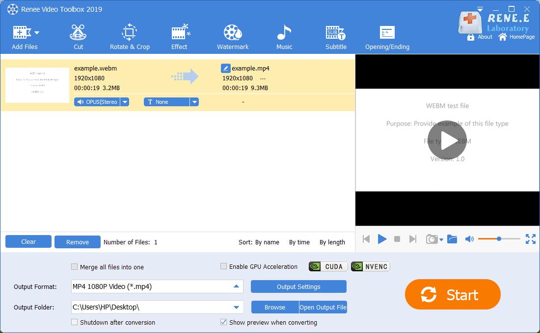 converter webm em mp4 com Renee Video Editor Pro
