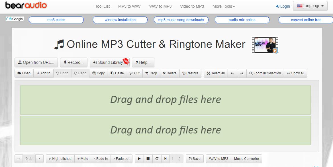 cortar arquivo de áudio com Bear Audio Editor