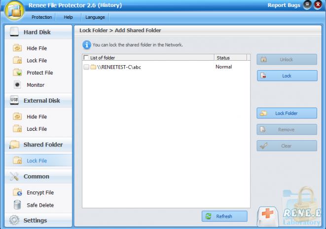 bloquear arquivos na pasta compartilhada