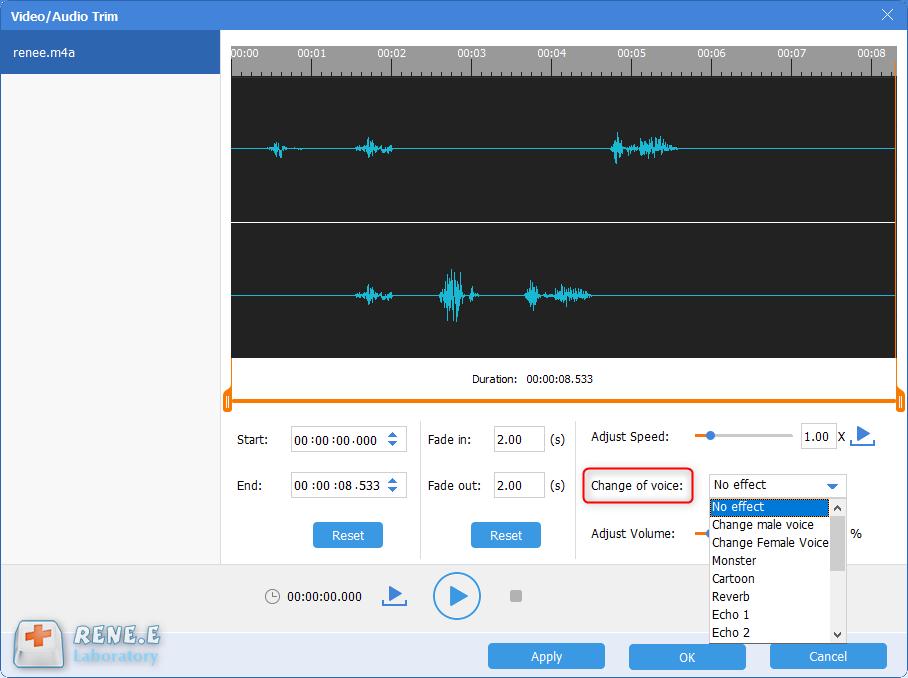 Alterar a voz do arquivo de áudio
