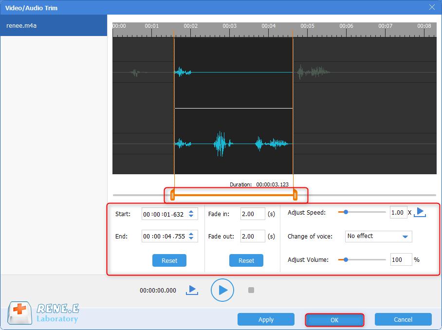 cortar um arquivo de áudio