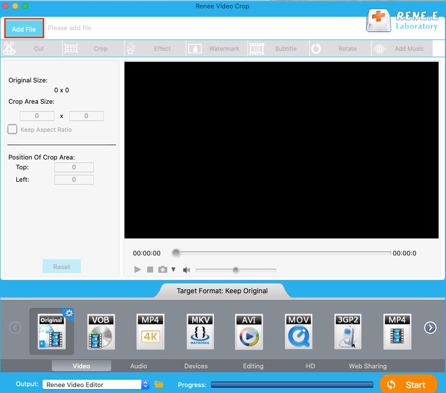 adicionar vídeo ao Renee Video Editor no Mac