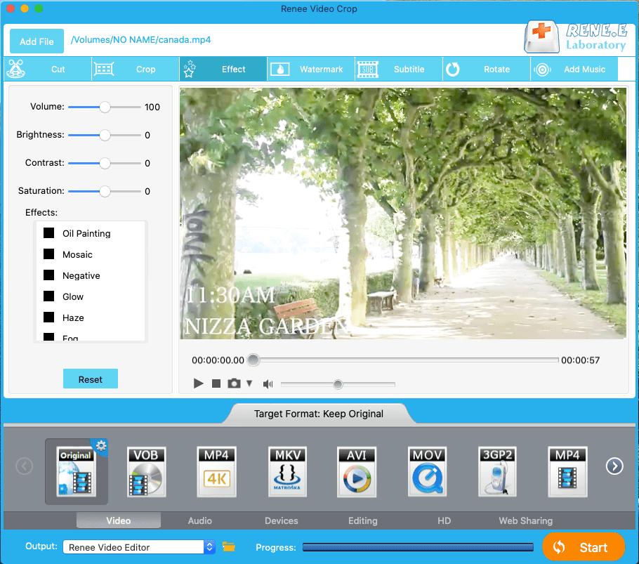 adicione efeitos ao vídeo com o Renee Video Editor no Mac