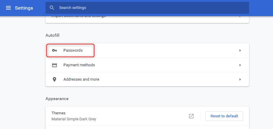 gerenciar senhas no Chrome