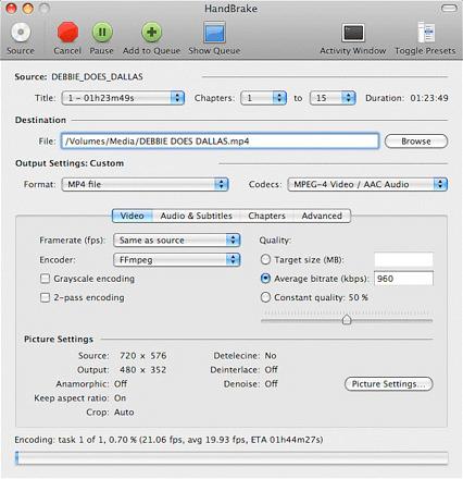 converter formato de vídeo com Handbrake no Mac