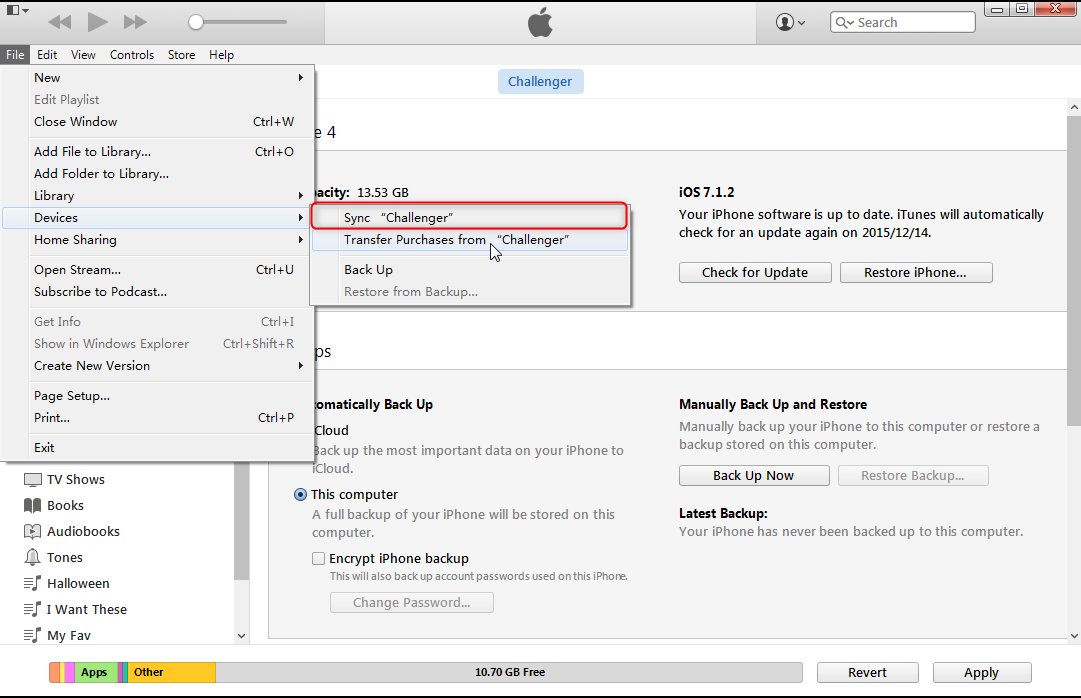 sincronizar arquivos com o iPhone
