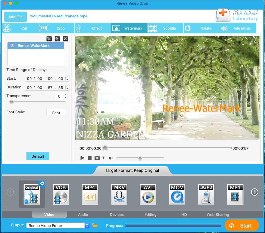 adicionar marca d'água no vídeo com o Renee Video Editor no Mac