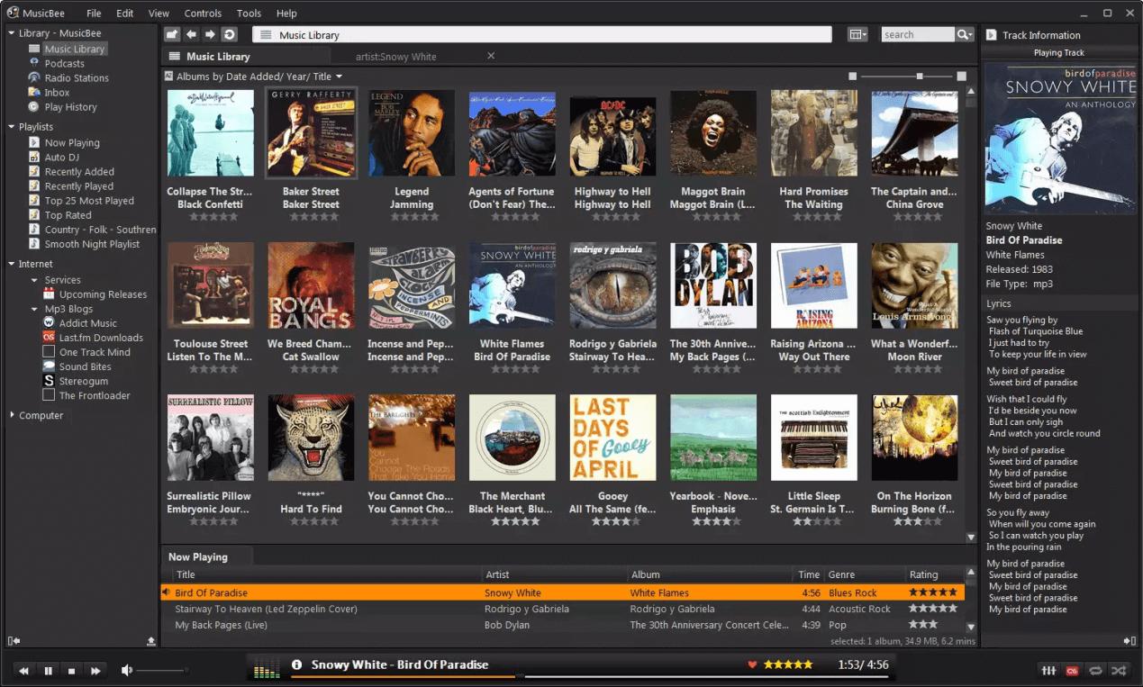 gerenciar arquivos de áudio com MusicBee