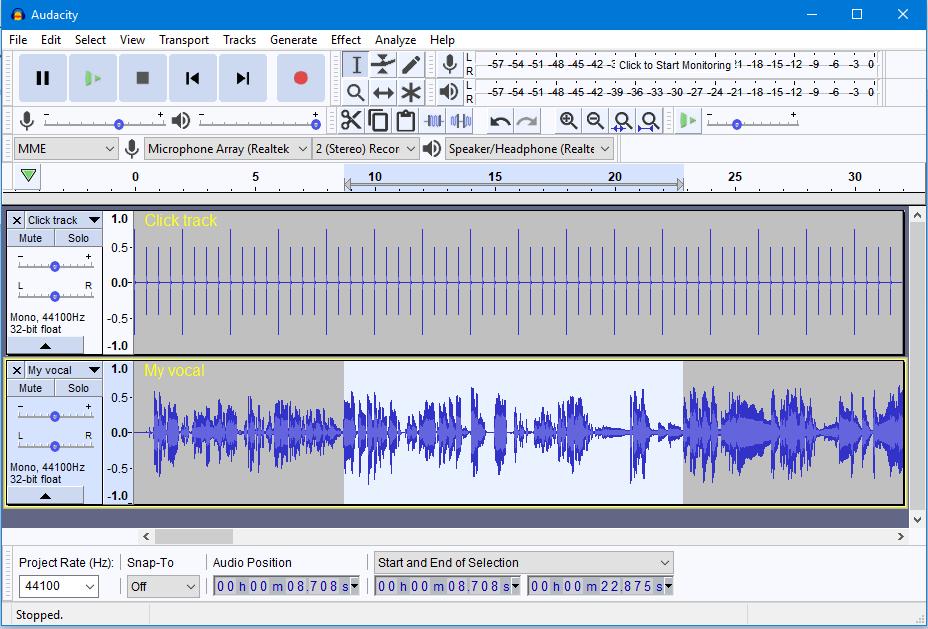 cortar arquivo de áudio com Audacity