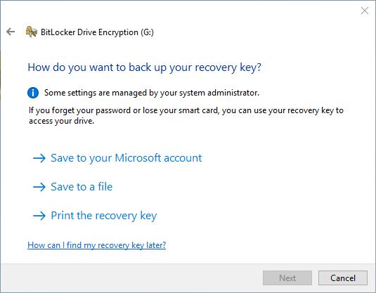 backup da chave do BitLocker