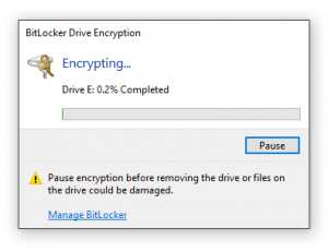 aguarde a criptografia com BitLocker