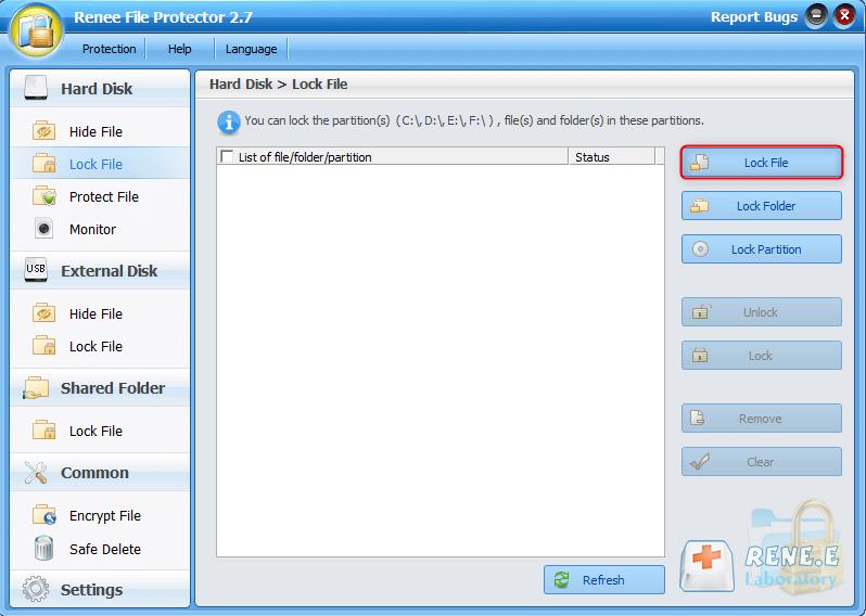 bloquear o arquivo com Renee File Protector