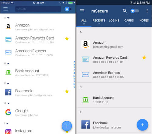 App do iPhone Password Manage Msecure
