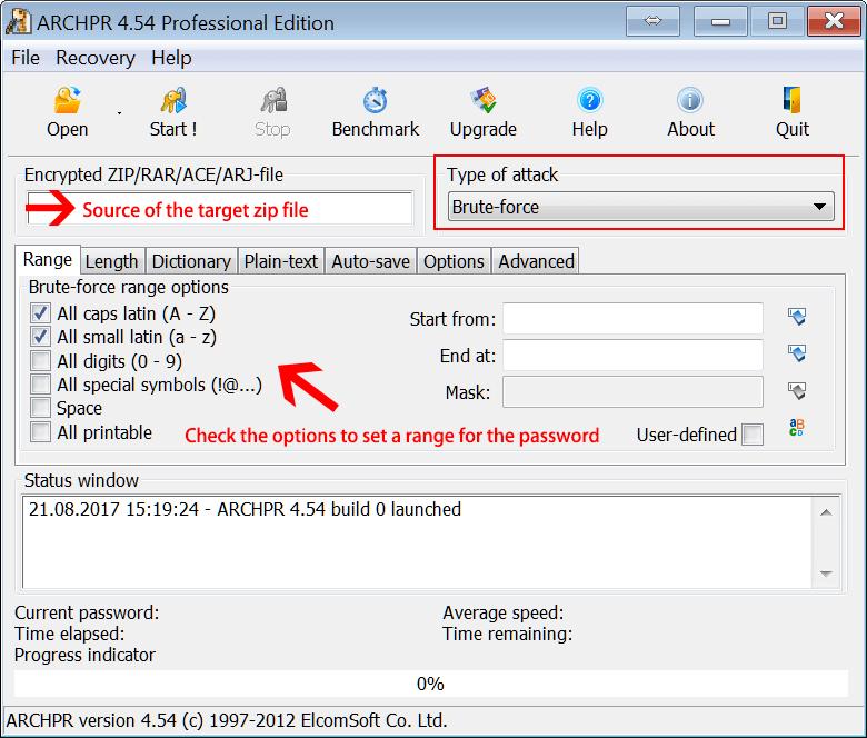 descriptografar um arquivo PDF com ARCHPR