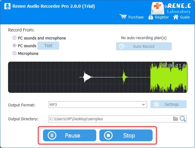 parar a gravação de áudio