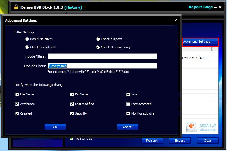 alterar os parâmetros de monitoramento do stick USB