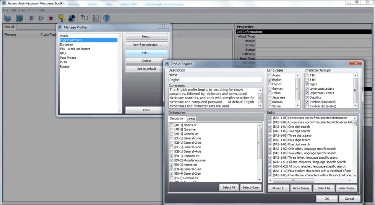 rack senha do arquivo ZIP com Access Data PRTK