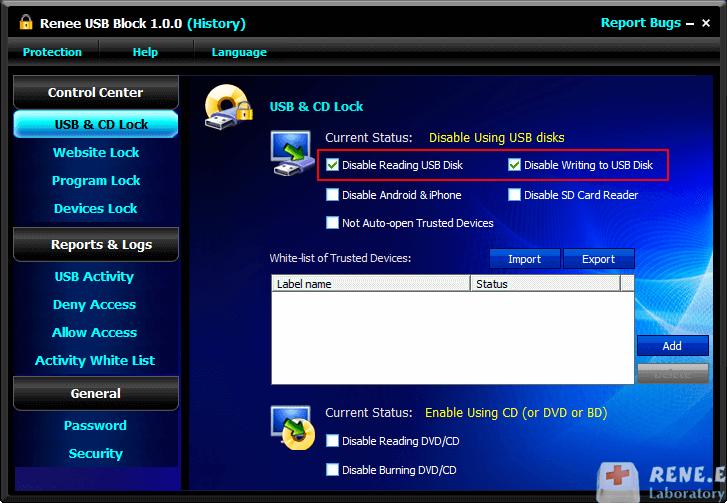 desabilitar USB com Renee USB Block