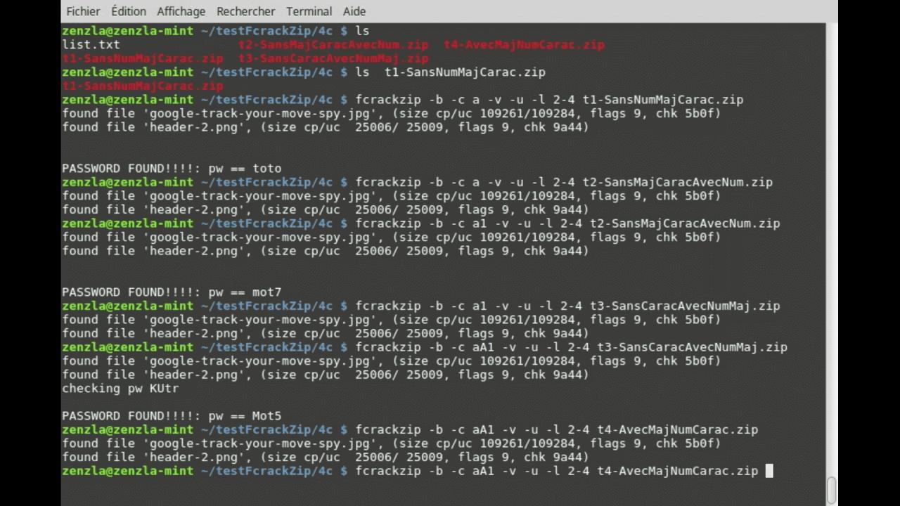 rack senha do arquivo ZIP com Fcrackzip